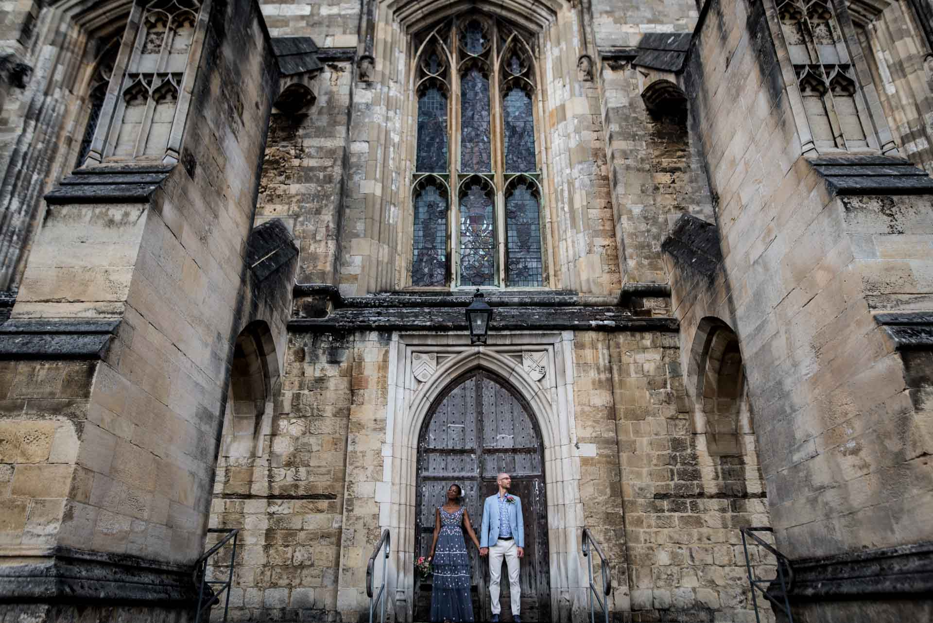 wedding couple at Winchester Cathedral